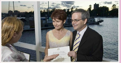 wedding ceremony at Kangaroo Point Brisbane River
