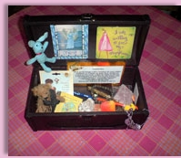 treasure box for wishes and small symbolic items for your child