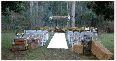 wedding ceremony area at polly's country kitchen neranwood gold coast