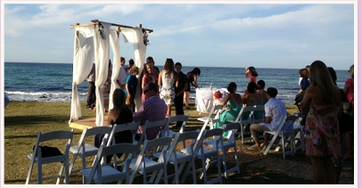 wedding ceremony at Burleigh Headland Len Fox Park