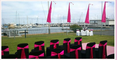 wedding ceremony area at Moreton Bay Trailer Boat Club
