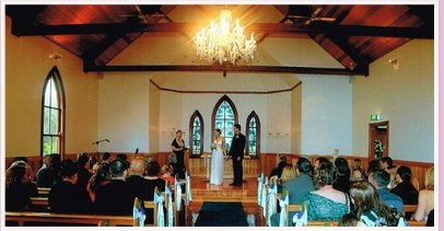 wedding ceremony at the chapel at Tamborine Wedding Gardens Resort Tamborine Mountain