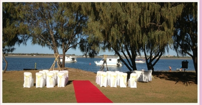 wedding ceremony area at Marine Parade Labrador Gold Coast