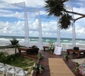 beautiful beach deck ceremony set up