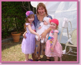 Marlee with three children she did a naming ceremony for