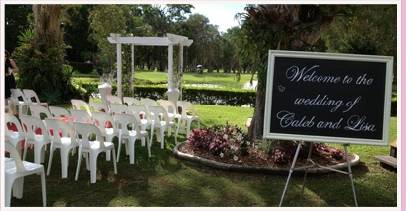 wedding ceremony area at Redland Bay Golf Club