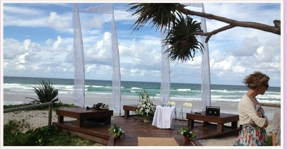 wedding ceremony set up on deck at Currumbin Beach