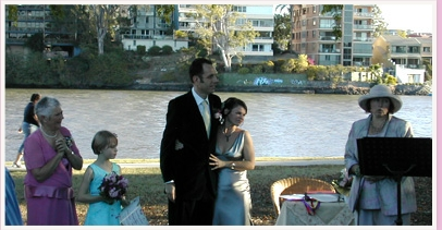 wedding ceremony at Orleigh Park West End Brisbane Queensland
