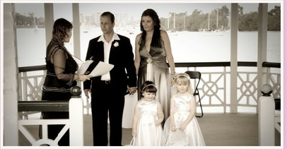 wedding ceremony at Newstead Park Newstead House Brisbane