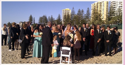 wedding ceremony at Rainbow Bay Beach Coolangatta Queensland