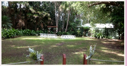 Wedding area at Currumbin Farm on the Gold Coast