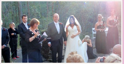 wedding ceremony at JC Slaughter Falls park Mt Coot-tha Queensland
