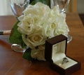 bouquet and rings for ceremony